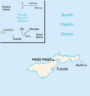 American Samoa Area Code Map