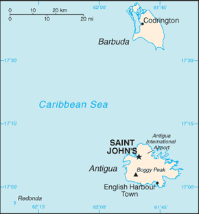 Antigua and Barbuda Area Code Map