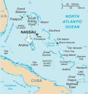 Bahamas Area Code Map