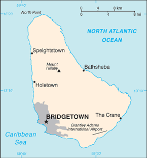 Barbados Area Code Map