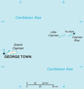 Cayman Islands Area Code Map