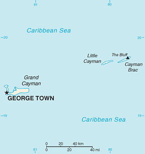 Caymen Islands Area Code Map