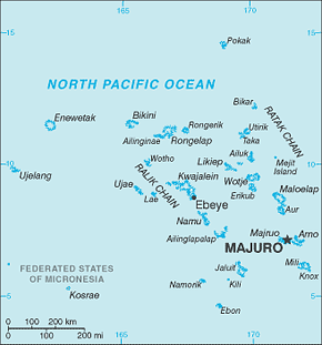 Marshall Islands Area Code Map