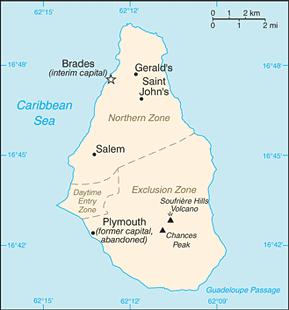 Montserrat Area Code Map
