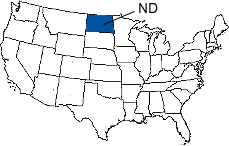 North Dakota Area Code Map
