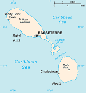 Saint Kitts and Nevis Area Code Map