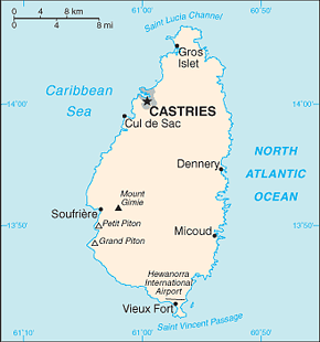 Saint Lucia Area Code Map