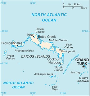 Turks and Caicos Islands Area Code Map