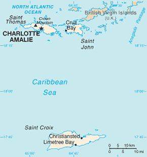 US Virgin Islands Area Code Map